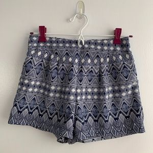 Blue and White Patterned Shorts